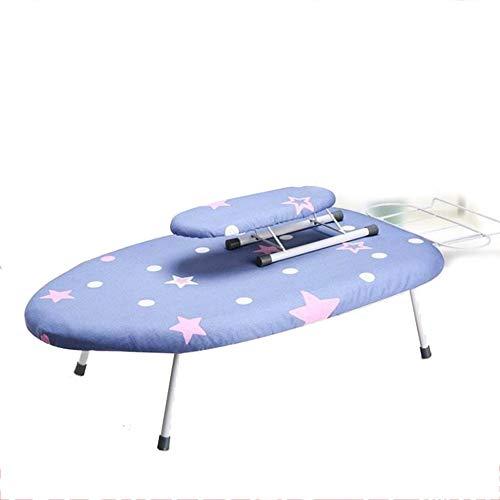 Tabla de planchar de tamaño familiar, tabla de planchar de metal, 60 x 36 cm, pequeños vapores y accesorios (tamaño único; color: azul)