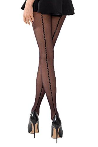 Passion Dessous Damen Strumpfhose erotisch schwarz transparent mit Muster 20 DEN 4