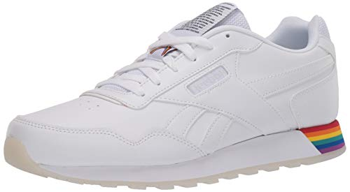 Reebok Mens Classic Harman Run Sneaker, White/Rainbow,10.5