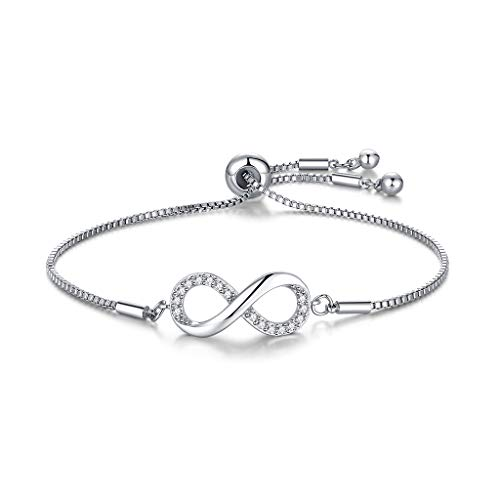 CERSLIMO Silver Bracelet for Women, White Gold Plated Cubic Zirconia Paved Infinity Heart Round Circle Bracelets | Birthday Gift for Girls Ladies Mom Sister Best Friends Girlfriend Adjustable Bracelet