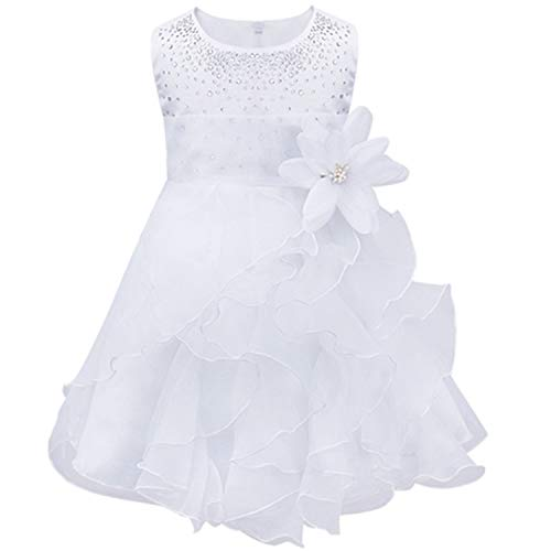Infantil Baby Girls Wedding Dress Baptism Christening Gown Pageant Dress with Pearls Toddler Kids Party Clothes White 24M