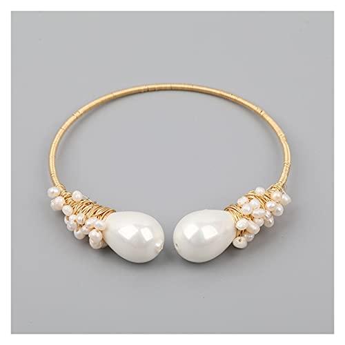 MLKJSYBA Pulsera Turquesa Natural Beads Chunky Bead Pulsera Abierta Pulsera para Las Mujeres Baroque Pearl Beads Open Bracelet Bangle Jewelry como Imagen Pulseras de Mujer (Color : D)
