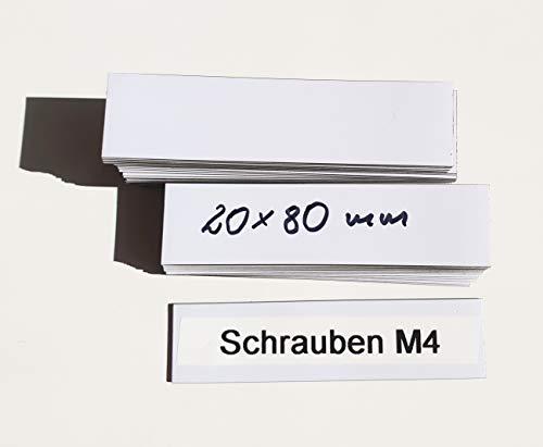 magnetische Etiketten 20mm x 80mm, weiß, 50 Stück, magnetische Etiketten Zuschnitte, Magnetstreifen weiß, Lageretiketten beschriftbar, magnetisch