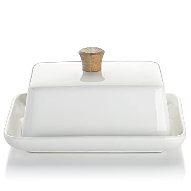 DOWAN Porcelain Butter Dish with Lid for East/West Butter