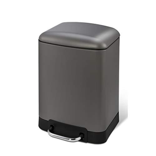 LJ-KK SxsZQ-Papelera de negocio, cubo de basura con pedal de espesor, cubo de basura para el hogar, oficina, sala de reuniones de la empresa, cubos de reciclaje, metal, A, 6 L