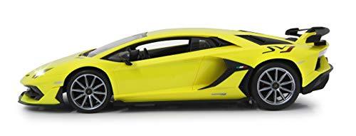 Jamara 405171 Lamborghini Aventador SVJ 1:14 2,4GHz-offiziell lizenziert, bis zu 1 Stunde Fahrzeit bei ca. 11 Kmh, perfekt nachgebildete Details, hochwertige Verarbeitung, gelb