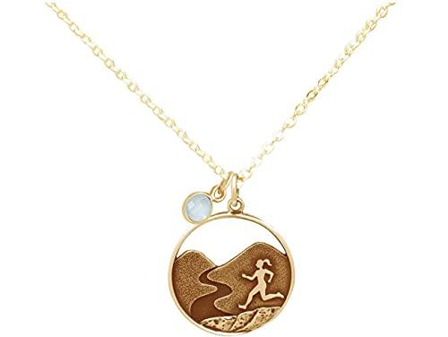 Gemshine Alpin Berg Trail, Cross Running Laufen Halskette mit blaugrünem CHALCEDON in 925 Silber, hochwertig vergoldet oder rose. Sportschmuck Made in Madrid, Spain, Metall Farbe:Silber vergoldet