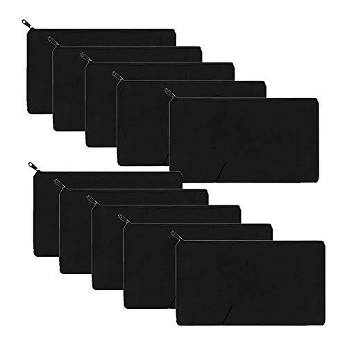 10 Pack Black Canvas Makeup Bag Multi-purpose Cosmetics Bag with Zipper Cotton Canvas Travel Toiletry Pouch Pen Coin Bag DIY Craft Bag