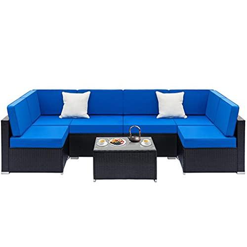 dongyu 7 piezas muebles de patio conjuntos todo clima sofá seccional al aire libre tejido manual mimbre patio conjunto de conversación con cojín y mesa de vidrio