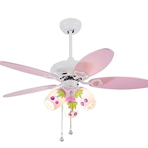 Fashion Pink Techo a los ventiladores con la pantalla de cristal y las cuchillas de madera de los ventiladores, la atenuación de tres engranajes, con el control remoto 52'60W encantadores ventiladore