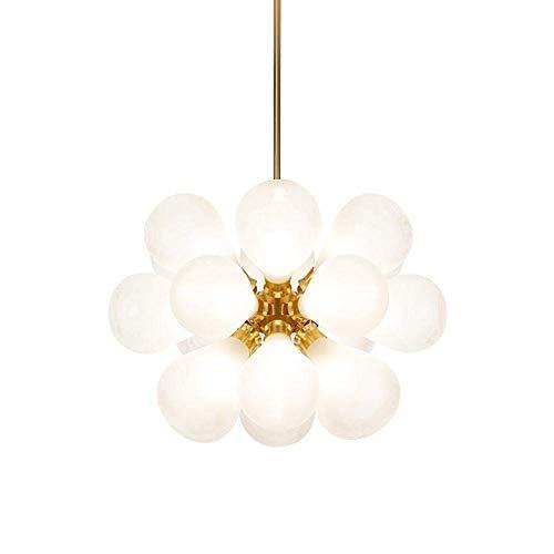 Lámpara colgante moderna de mediados de siglo, lámpara de araña de cristal con forma de globo, lámpara de techo de metal individualidad G9 durante la iluminación para comedor, dormitorio, rosa, 24 x 2