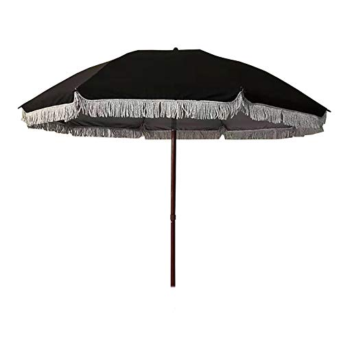 Parasol Sombrilla Redonda con borlas, sombrilla de jardín Negra de 2 m