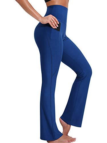 Neleus Bootleg Yoga Pants for Women Tummy Control High Waist,9043,Blue,US 2XL,EU 3XL