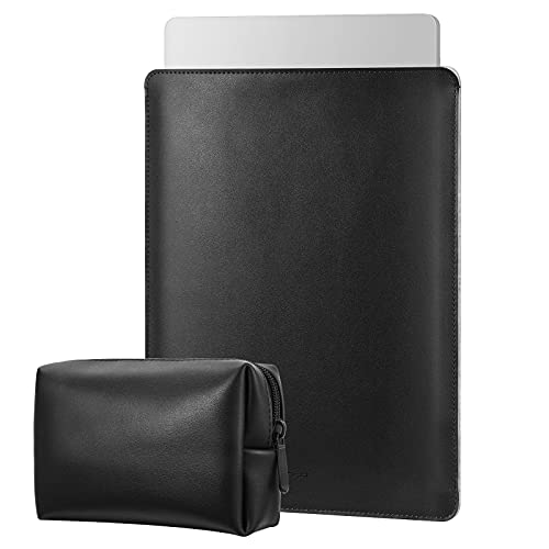 MoKo 13.3 Pulgada Funda Protectora Compatible con MacBook Air M1 13.3 2020, MacBook Pro M1 13.3 2020, Bolsa Blanda de PU con Pequeño Caso, Negro