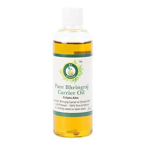 R V Essential Huile de Bhringraj pur 100ml (3.38oz) - Eclipta Alba (100% pur et Série d'herb rares naturelles) Pure Bhringraj Oil