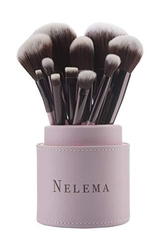 Nelema 11 tlg. Schminkpinsel-Set (Rosé) inkl. Pinselset-Behälter - Kosmetikpinsel für Lidschatten...
