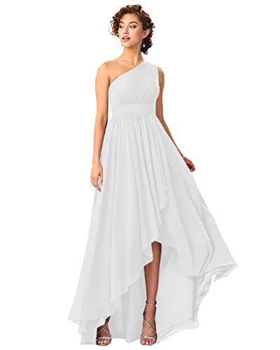 Miao Duo One Shoulder High Low Bridesmaid Dresses with Pockets Chiffon Long Empire Wasit Formal Dress for Women Evening White 02