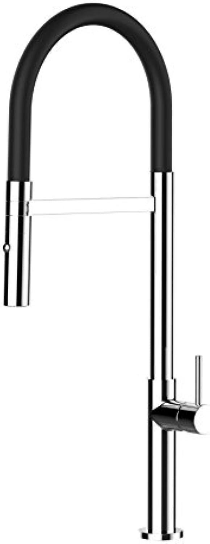 VIZIO Einhebel Küchenmischer mit schwarz schwenkbarem Auslauf und abnehmbarer 2 Strahl Handbrause   CHROM   Profi   minimalistisch Design   Restaurant   Haus