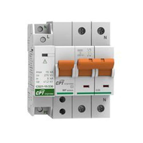 Conjunto Protector de sobretensiones permanentes, IGA 25A monofásico y Protector de sobretensiones transitorias, 15kA 1P (1+N), 10,5 x 6,5 x 8,5 centímetros, Color Blanco (Referencia: 77706395C)