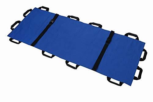 折り畳み 担架 布担架 救急 救護 災害 防災 介護 緊急 患者移動用シート180×70cm 収納袋付き (ブルー)