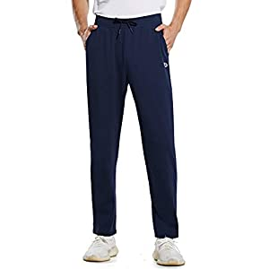 BALEAF Men's Warm Sherpa Lined Pants Winter Fleece Athletic Lounge Jogging Pants Open Bottom