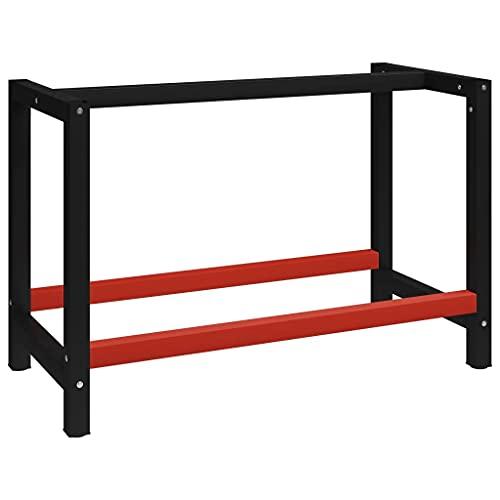 vidaXL Estructura de Banco de Trabajo Soporte de Mesa Taller Herramientas Garaje Moderno Duradera Resistencia Metal Negro y Rojo 175x57x79 cm