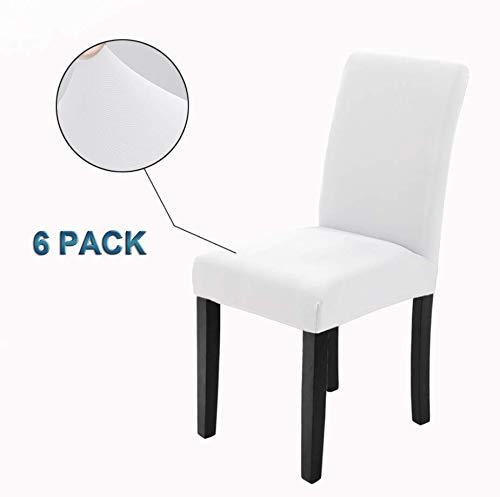 Veakii R Fundas para sillas Pack de 6 Fundas sillas Comedor, Lavable Comedor Asiento Cubre para el Comedor casero Modern Bouquet de la Boda, Hotel, Decor Restaurante (Blanco, Pack de 6)