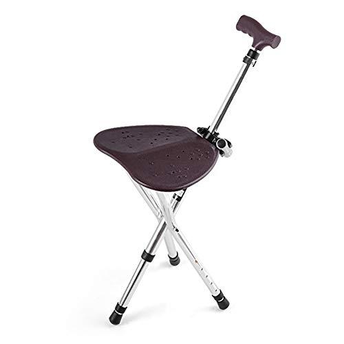 ZLJ Silla de bastón de aleación de Aluminio Plegable Ajustable para Caminar bastón de Masaje con Asiento Taburete portátil para Descanso de Pesca para Ancianos