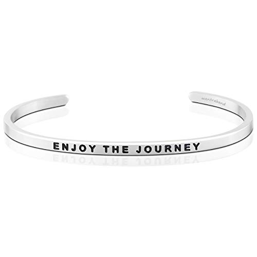 MantraBand Bracelet - Enjoy The Journey - Inspirational Engraved Adjustable Mantra Band Cuff Bracelet - Silver - Gifts for Women (Grey)