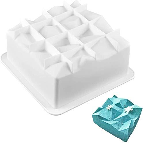 Molde de Silicona para Tartas, Forma de Cuadrado de diamante 3D Moldes para Caramelos, Molde de Jabón para Hornear, para Pastel, Repostería, Panecillo, Pudín, Bizcocho