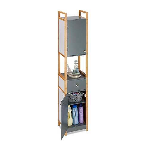Relaxdays hoge kast badkamer, badkamerrek, badkamerkast, 2-deurs, van MDF, met bamboeframe, HBT 165 x 31,5 x 29 cm, grijs