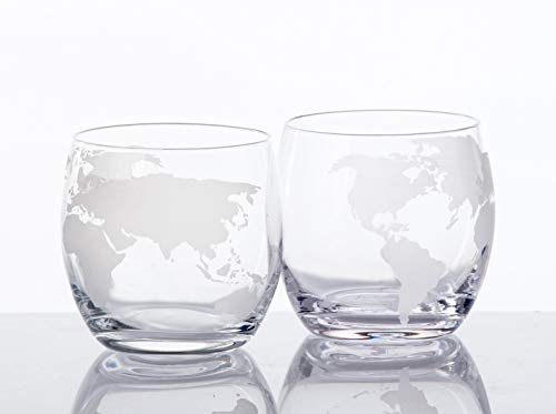 Whiskey Decanter and Glass Set - Includes Whisky Decanter Globe with 2 Whiskey Glasses - Etched Globe Liquor Decanter Set with Tray - for all Beverage Serveware