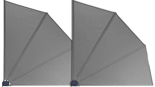 GRASEKAMP Qualität seit 1972 2 Stück Balkonfächer 120 x 120 cm Grau mit Wandhalterung Trennwand Sichtschutz