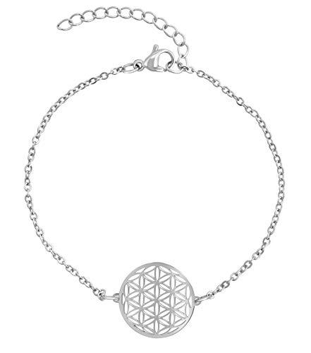 Nuoli® Lebensblume Armband Damen Silber (15 + 5cm verstellbar) Armkette für Frauen & Mädchen mit Blume des Lebens Anhänger