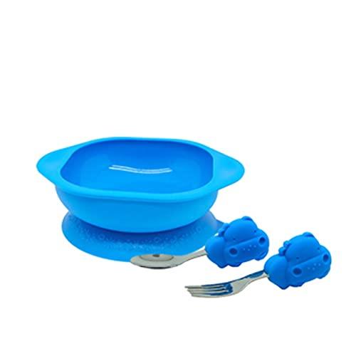 Goodvk Juego de Vajilla para Niños Taza de succión y tazón de succión de la Cuchara para niños Fácil de Usar para los Niños (Color : Azul, Size : One Size)