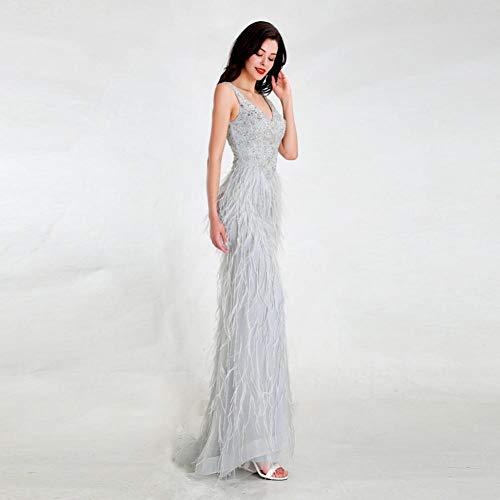BINGQZ Vestito Cocktail/Design Abiti da Sera Grigio Chiaro Elegante Tulle Lungo Senza Schienale con Piume Perline Abiti da Festa a Sirena
