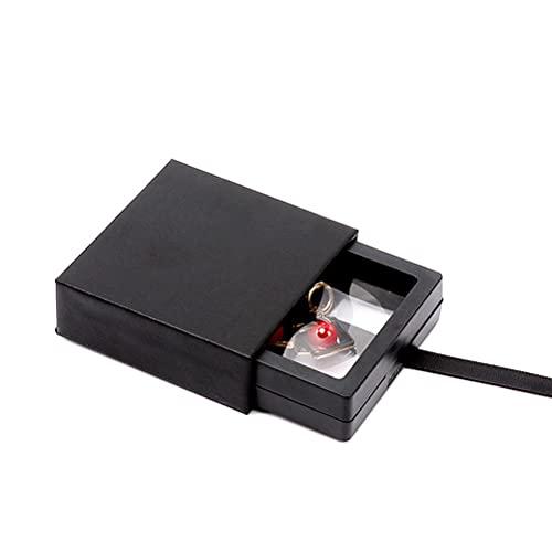 Kylewo Caja de Almacenamiento de joyería con película de PE, Caja de joyería Caja de joyería Caja de joyería Negra para Anillos, Pulseras, Pendientes, Collar, Regalo, 7 * 7 * 2 cm