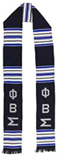 Phi Beta Sigma Fraternity Handwoven Black/Blue/White Kente Stole
