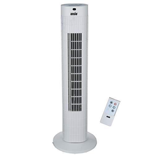 ANSIO Oszillierender Turmventilator mit Fernsteuerung- Säulenventilator - 75CM Standventilator - Ventilator - 3-stufigem Windmodus mit 3 Drehzahlen und langem Kabel(1,75m) Weiß