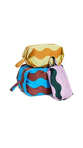 BAGGU 3D Zip Set, Expandable Nylon Zip Pouch 3 Pack For Travel And Organization, Wavy Stripes