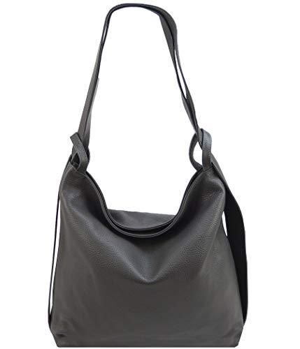 Freyday 2in1 Damen Handtasche Rucksack Designer Henkeltasche aus 100% Echtleder HR01 (Dunkelgrau)