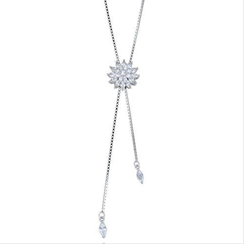 huangxuanchen co.,ltd Collar Mujer S Collar OL Dulce Plata Pura Diamante Flor Collar Mujer S Cadena de clavícula Regalo de Plata