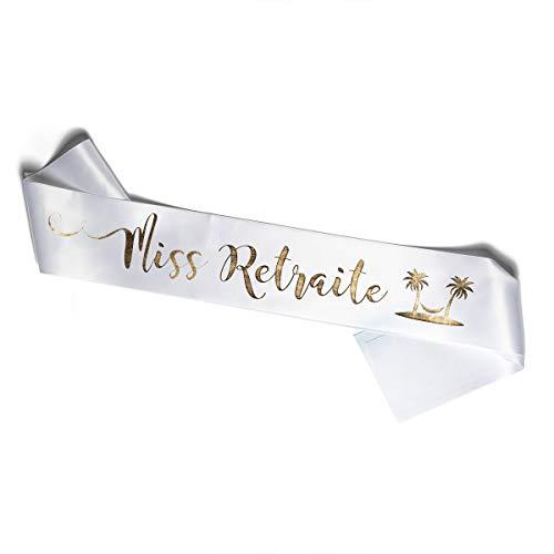Echarpe pour Fêter pour Fêter Le Départ en Retraite - Echarpe Blanche et Or - Vive la Retraite ou Miss Retraite (Miss Retraite)