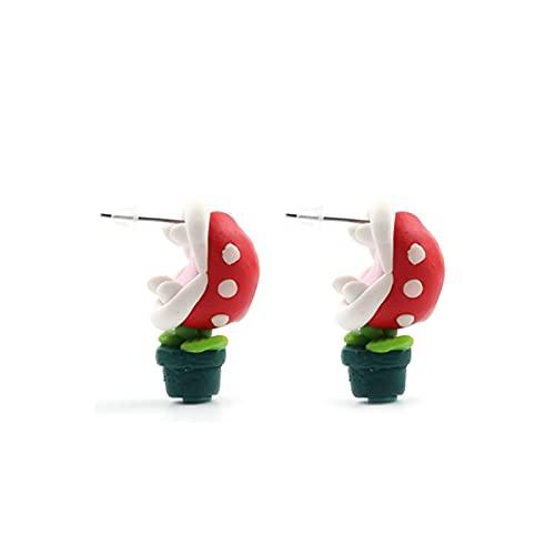 MSTSCKOWEPR 1 par de pendientes de mordedura de flores, dibujos animados de arcilla suave 3D de mordedura de plantas, accesorios de personalidad de moda pendientes de fiesta divertido regalo