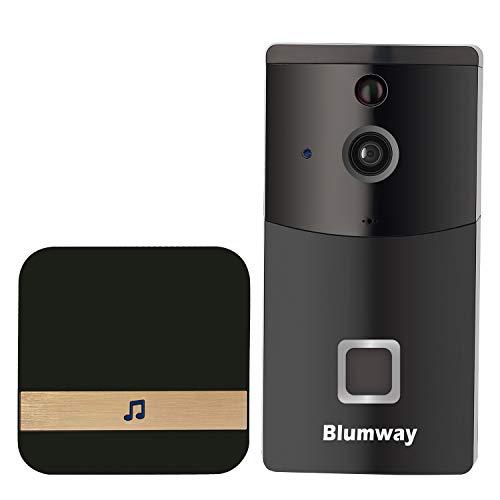 BlumWay Video Türklingel, DoorBell 720P HD Wifi Überwachungskamera in 32G Speicher, mit Glockenspiel und Akku, Echtzeit-Video, Nachtsicht, PIR Bewegungserkennung und App für iOS und Android