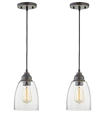 Gruenlich Pendant Lighting Fixture for Kitchen and Dining Room, Hanging Lighting Fixture, E26 Medium Base, Metal Construction with Clear Glass, Bulb not Included, 2-Pack (Oil Rubbed Bronze Finish)