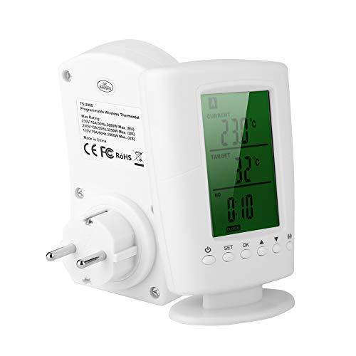 Toma para termostato inalámbrico - Termostato inalámbrico programable con toma, toma inteligente para el hogar (Color : EU)