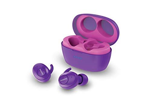 Fone de Ouvido Sem Fio Philips Tws Bluetooth 5.0 Shb2505bk/00 Upbeat In Ear com Microfone - Rosa e Roxo