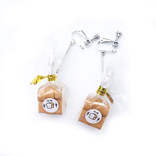 Viesky Pendientes colgantes hechos a mano de imitación de alimentos con pan francés y tostadas