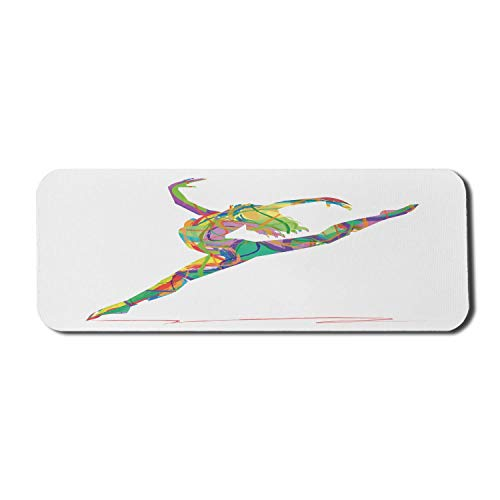 Modernes Computer-Mauspad, Zusammenfassung eines Tänzers Lebendige farbige zufällige Linien, die Ballerina-Druck springen, rechteckiges rutschfestes Gummi-Mauspad großes mehrfarbiges